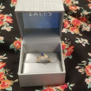 Sapphire and Diamond Ring 24 kt gold ring